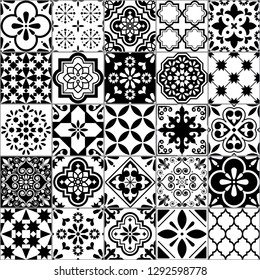 Lisbon geometric Azulejo tile vector pattern, Portuguese or Spanish retro old tiles mosaic, Mediterranean seamless black and white design. Ornamental indigo textile background inspired by Spanish art