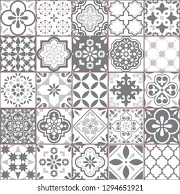 Lisbon geometric Azulejo tile vector pattern, Portuguese or Spanish retro old tiles mosaic, Mediterranean seamless gray and white design. Ornamental textile background inspired by Spanish and Portugue