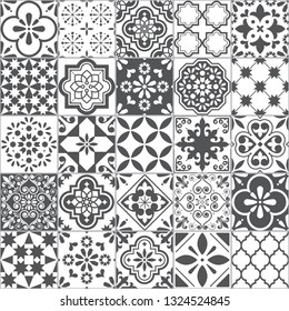 Lisbon geometric Azulejo tile vector pattern, Portuguese or Spanish retro old tiles mosaic, Mediterranean seamless gray and white design 	 Ornamental textile background inspired by Portuguese tile art