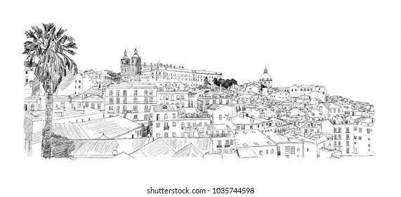 Lisbon, Portugal. Alfama. Vector drawing