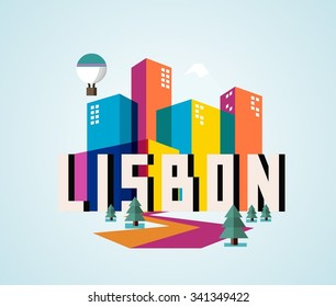 Lisbon in Portugal is Beautiful city to visit on holiday, vector cartoon illustration