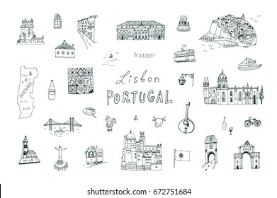 Lisbon Portugal city doodle objects cartoon vector city illustrations set