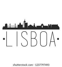 Lisbon Portugal. City Skyline. Silhouette City. Design Vector. Famous Monuments.