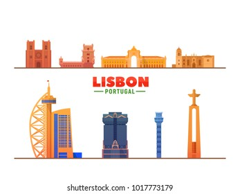 Lisbon ( Portugal ) landmarks white background. Vector Illustration. Business travel and tourism concept with Historic buildings Belem Tower, Triumphal Arch, Cathedral and Santa Justa Elevator.