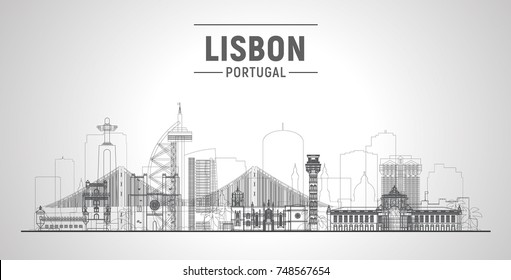 Lisbon ( Portugal ) line skyline with panorama in white background. Vector Illustration. Business travel and tourism concept with modern buildings. Image for presentation, banner, web site.