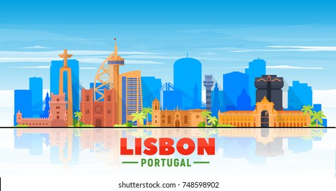 Lisbon ( Portugal ) skyline with panorama in white background. Vector Illustration. Business travel and tourism concept with modern buildings. Image for presentation, banner, web site.