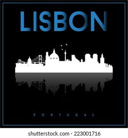 Lisbon, Portugal, skyline silhouette vector design on parliament blue and black background.