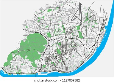 Lisbon, Portugal street network vector map