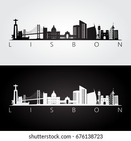 Lisbon skyline and landmarks silhouette, black and white design, vector illustration.