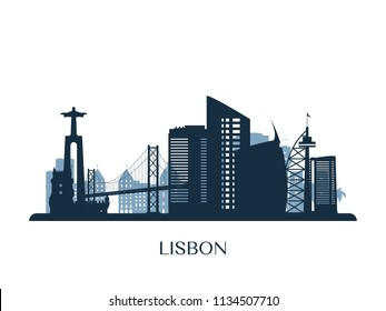 Lisbon skyline, monochrome silhouette. Vector illustration.