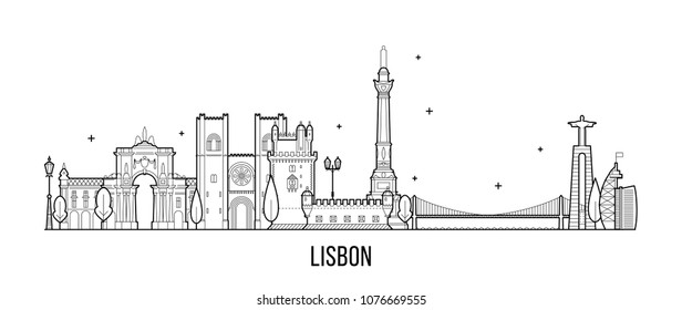 Lisbon skyline, Portugal. This illustration represents the city with its most notable buildings. Vector is fully editable, every object is holistic and movable