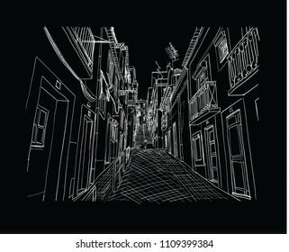 Lisbon street drawn sketch.Vector illustration