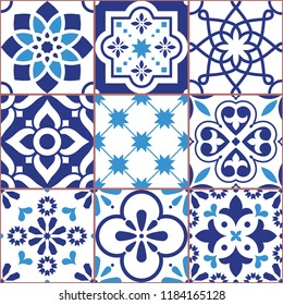 Lisbon tiles design, Azulejo vector seamless pattern, abstract and floral decoration inspired by tranditional tile art from Portugal and Spain. Navy blue old mosaic, retro tiles background, repetitive