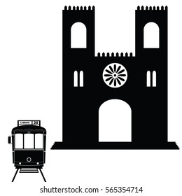 Lisbon tramway in black color with building art illustration