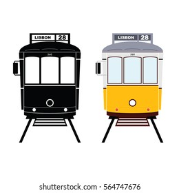Lisbon tramway in black and yellow color art illustration