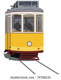 Lisbon tramway isolated in white, vector