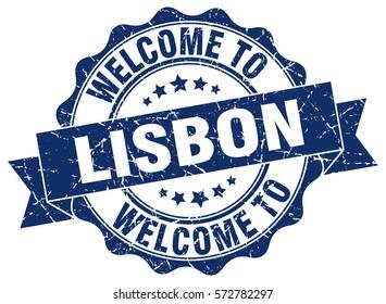 Lisbon. Welcome to Lisbon stamp