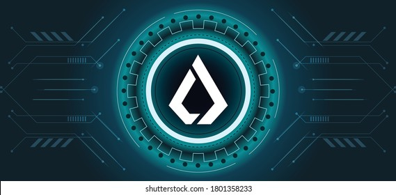 Lisk LSK coin symbol with crypto currency themed background design. Modern neon color banner for Lisk LSK icon. Cryptocurrency Blockchain technology, digital innovation or trade exchange.