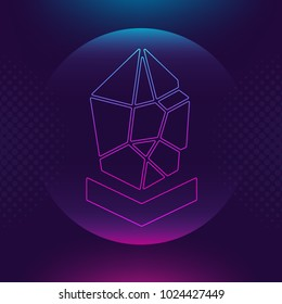 Lisk LSK vector outline icon. Cryptocurrency, e-currency, payment crypto currency, blockchain button. Trendy Bright lighting logo adaptation design web site mobile app EPS. Ultra violet background
