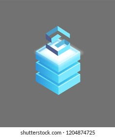 Lisk open-source, public blockchain-based distributed computing platform and operating system featuring smart money. Abstract isometric 3d isolated icon