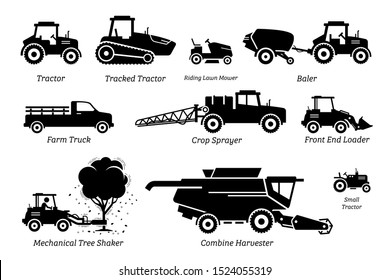 List of agriculture farming vehicles, tractors, trucks, and machines. Illustrations depict tractor, lawn mower, baler, farm truck, crop sprayer, front end loader, tree shaker, and combine harvester.