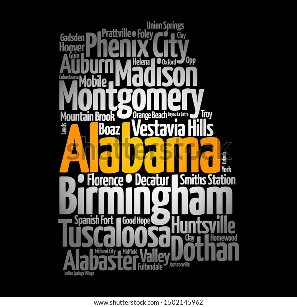 List Cities Alabama Usa State Map Stock Vector (Royalty Free ...
