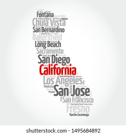 List of cities in California USA state, map silhouette word cloud map concept