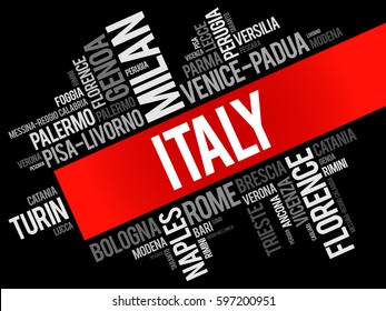 List of cities in Italy, word cloud collage, travel concept background