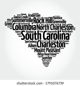 List of cities in South Carolina USA state, map silhouette word cloud, map concept background