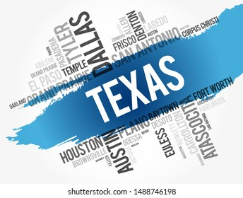 List of cities in Texas USA state word cloud, concept background
