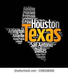 List of cities in Texas USA state, map silhouette word cloud map concept