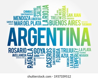 List of cities and towns in Argentina, word cloud collage, business and travel concept background