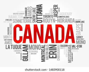 List of cities and towns in Canada, word cloud collage, business and travel concept background