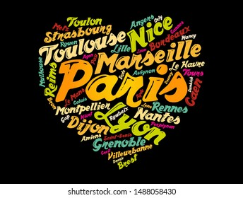 List of cities and towns in France composed in love sign heart shape, word cloud collage