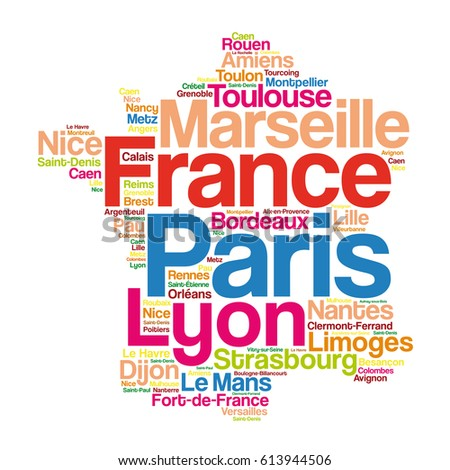 Cities Of France Map.List Cities Towns France Map Word Stock Vector Royalty Free