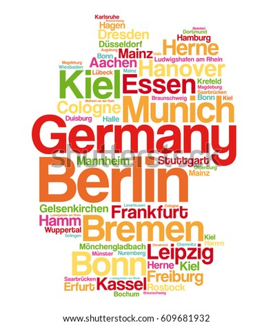 List Cities Towns Germany Map Word Stock Vector Royalty Free