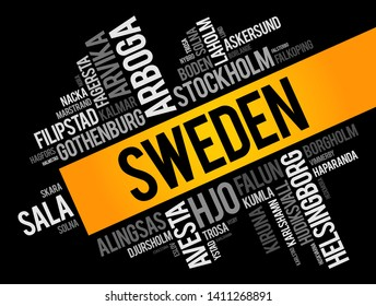 List of cities and towns in Sweden, word cloud collage, business and travel concept background