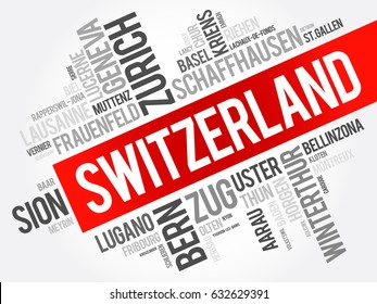 List of cities and towns in Switzerland, word cloud collage, business and travel concept background