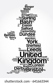 List of cities and towns in UNITED KINGDOM, map word cloud collage, business and travel concept background