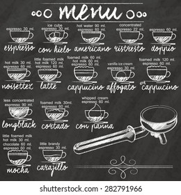 list the composition of the mixture of coffee hand-drawn on a blackboard.