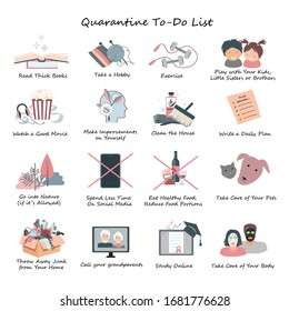 List of Daily Activities for Covid-19 or coronavirus quarantine to save the Mental Health. Stay at Home concept, daily routine while Self Isolation. Vector infographics, flat style illustration