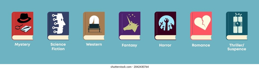 List of fiction genres. Set of books with themed covers: mystery, science fiction, adventure, fantasy, horror, romance, thriller and suspence.