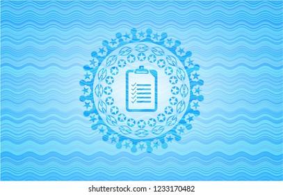 list icon inside light blue water wave emblem.