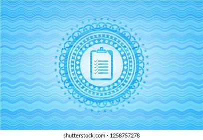 list icon inside light blue water wave style emblem.