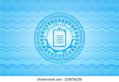 list icon inside sky blue water badge.