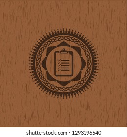list icon inside wood emblem. Vintage.