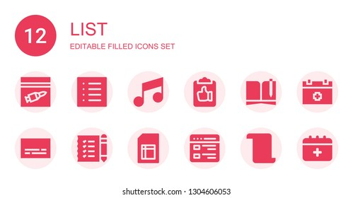 list icon set. Collection of 12 filled list icons included Evidence, List, Note, Clipboard, Notebook, Subtitles, Shopping Sheet, Schedule