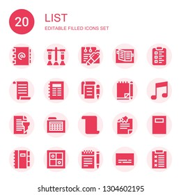 list icon set. Collection of 20 filled list icons included Address book, Test, Note, Notebook, Clipboard, List, Notepad, Report, Schedule, Evaluation, Notes, Subtitles