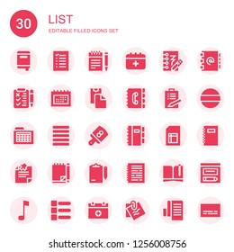 list icon set. Collection of 30 filled list icons included Notebook, List, Notes, Schedule, Notepad, Paste clipboard, Contact book, Justify, Board, Sheet, Note, Clipboard, Address book