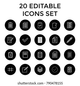 List icons. set of 20 editable outline list icons such as notepad, clipboard with chart, pen, clipboard, paper, paper and pen. best quality list elements in trendy style.